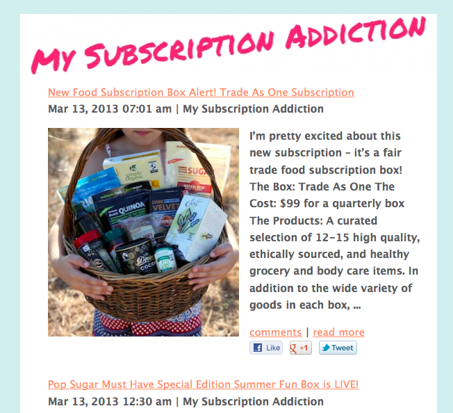 My Subscription Addiction Newsletter - Sign up!