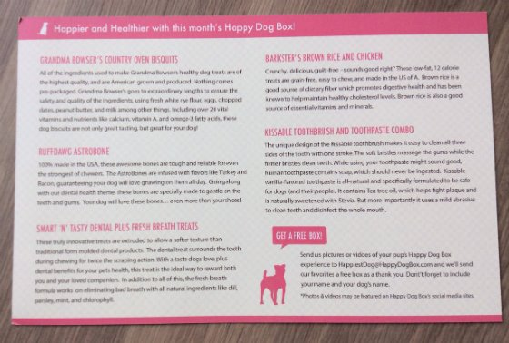 Happy Dog Box Review & 50% Off Coupon - Feb 2014 Card
