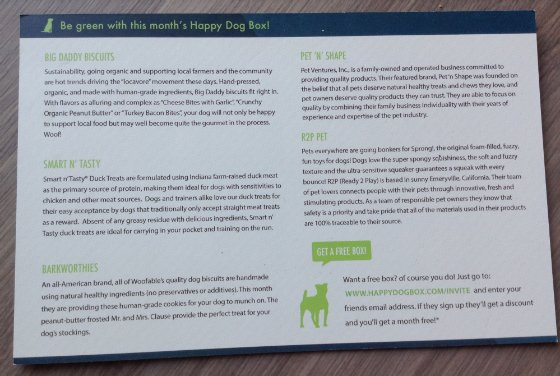Happy Dog Box Subscription Box Review - March 2014 Card