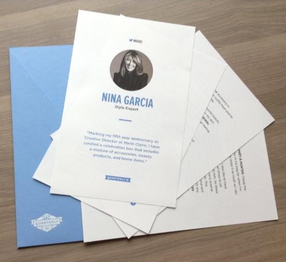 Nina Garcia Quarterly Subscription Box Review #NGQ02 Letter