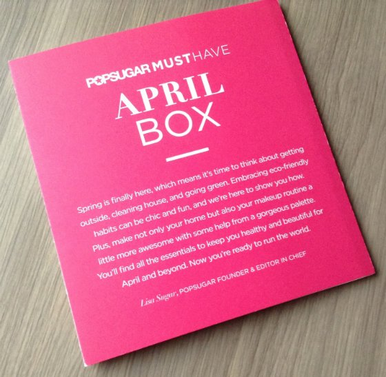POPSUGAR Must Have Review - April 2014 Letter