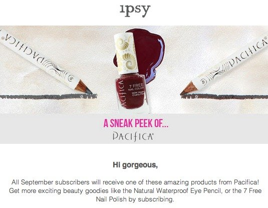 Ipsy September 2014 Spoilers! Pacifica
