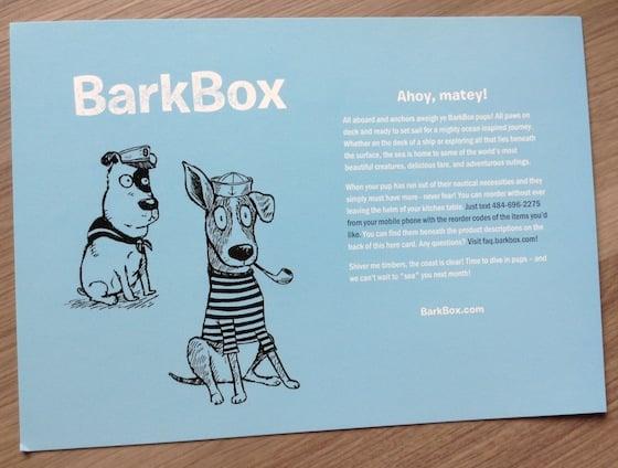 BarkBox Subscription Box Review & Coupon - August 2014 Sailor