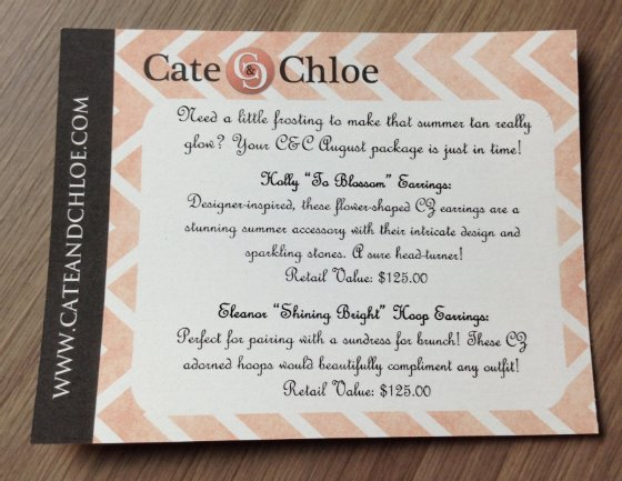 Cate & Chloe Jewelry Subscription Box Review - August 2014 Info
