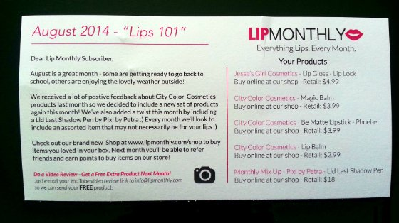 Lip Monthly Makeup Subscription Box Review – August 2014 Card