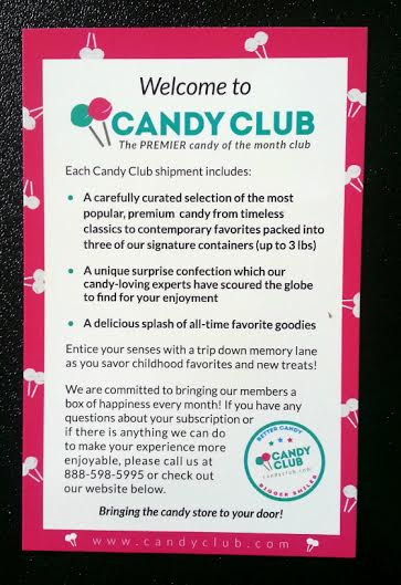 Candy Club Subscription Box Review - August 2014 Info