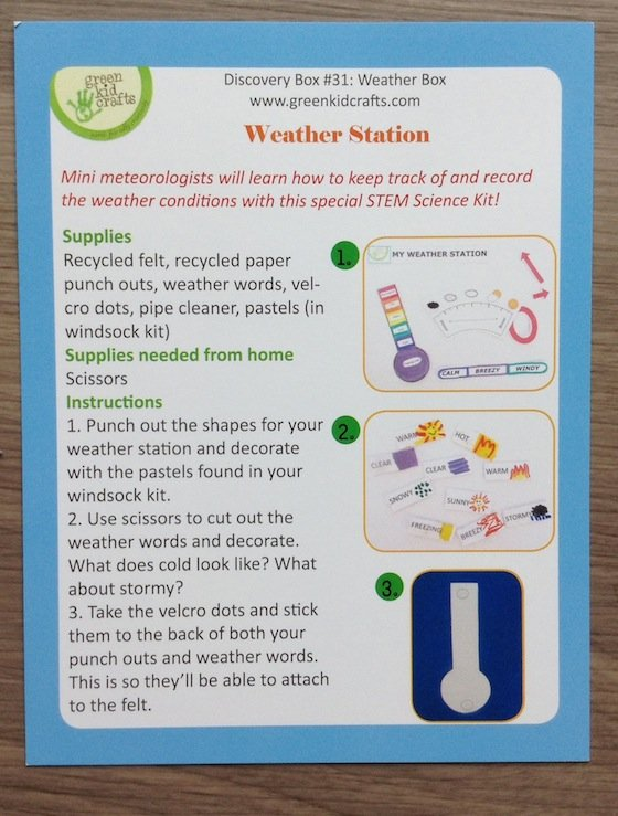 Green Kid Crafts Subscription Box Review - Sept 2014 Weather Board