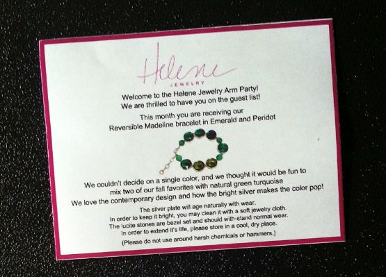 Helene Jewelry Arm Party Subscription Box Review - October 2014 Info