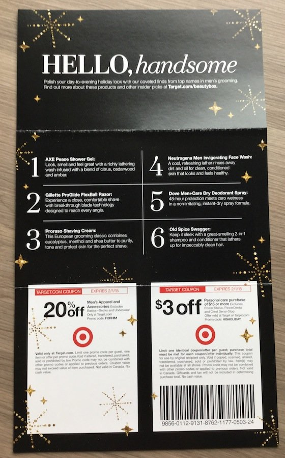 Target Beauty Box for Him Review - December 2014 Info