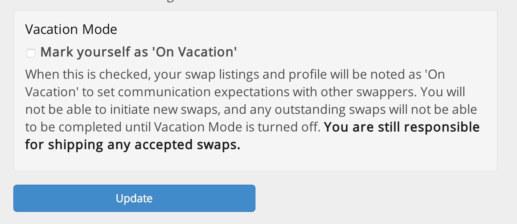 Swap Site Vacation Mode is Live! On vacation