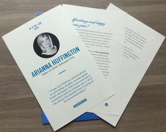 Arianna Huffington Quarterly Box Review – #ARI03 Letter