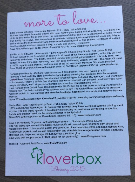 KloverBox Subscription Box Review & Coupon – February 2015 Info
