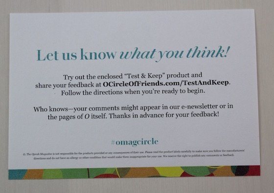 Oprah Circle of Friends Subscription Try & Keep Item Review Info