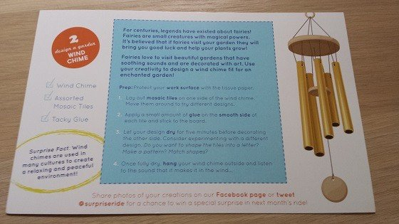 Surprise Ride Subscription Box Review + Coupon - April 2015 Wind Chime Instructions