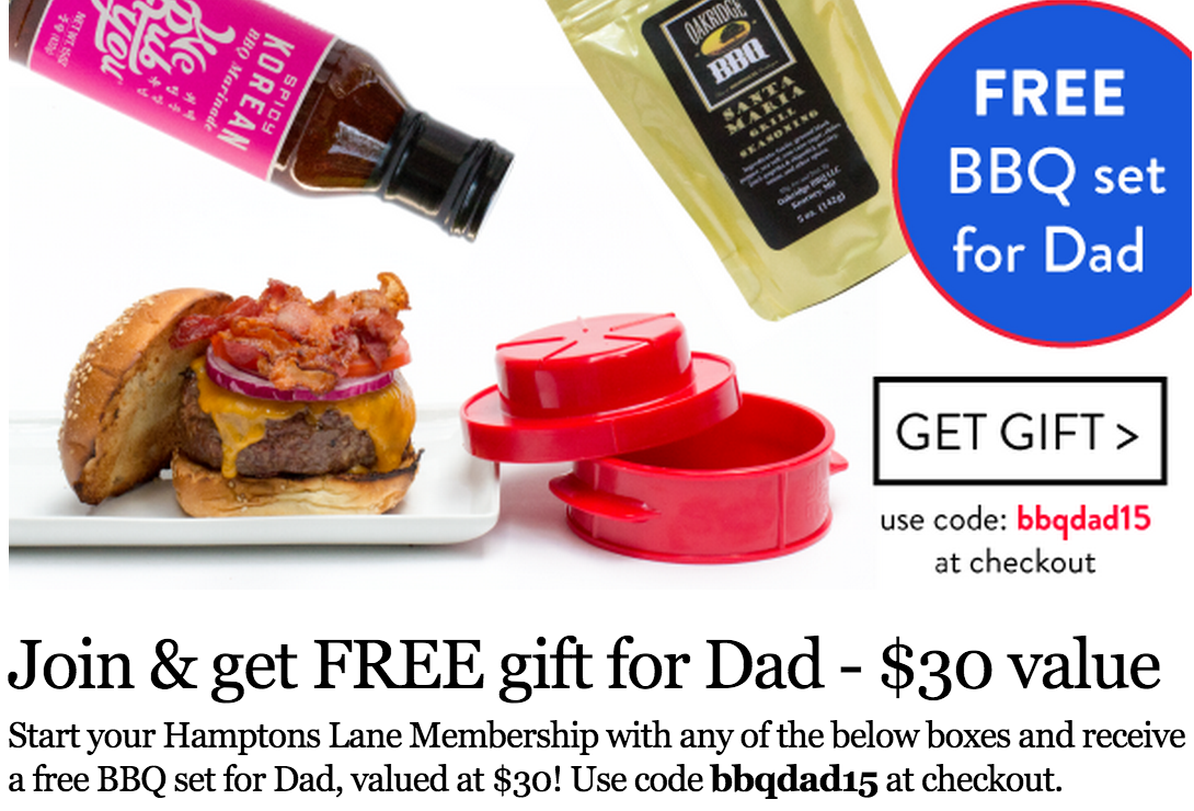 Free Father's Day BBQ Gift Set w/ Hamptons Lane Subscription!