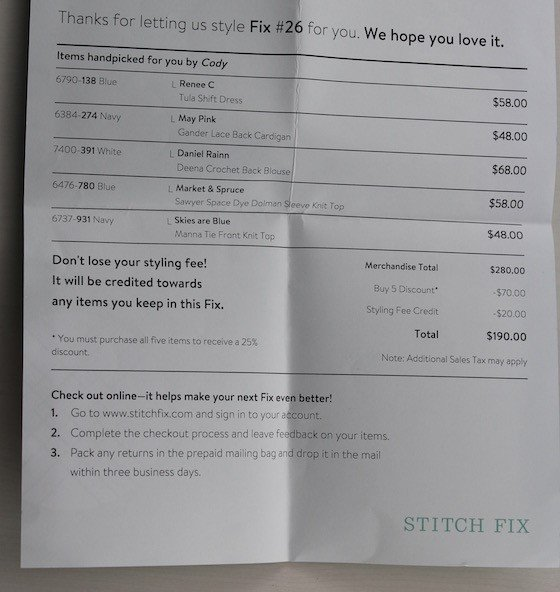 Stitch Fix Review – June 2015 Invoice
