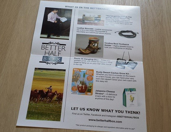 Better Half Box for Men Subscription Review - July 2015 - info