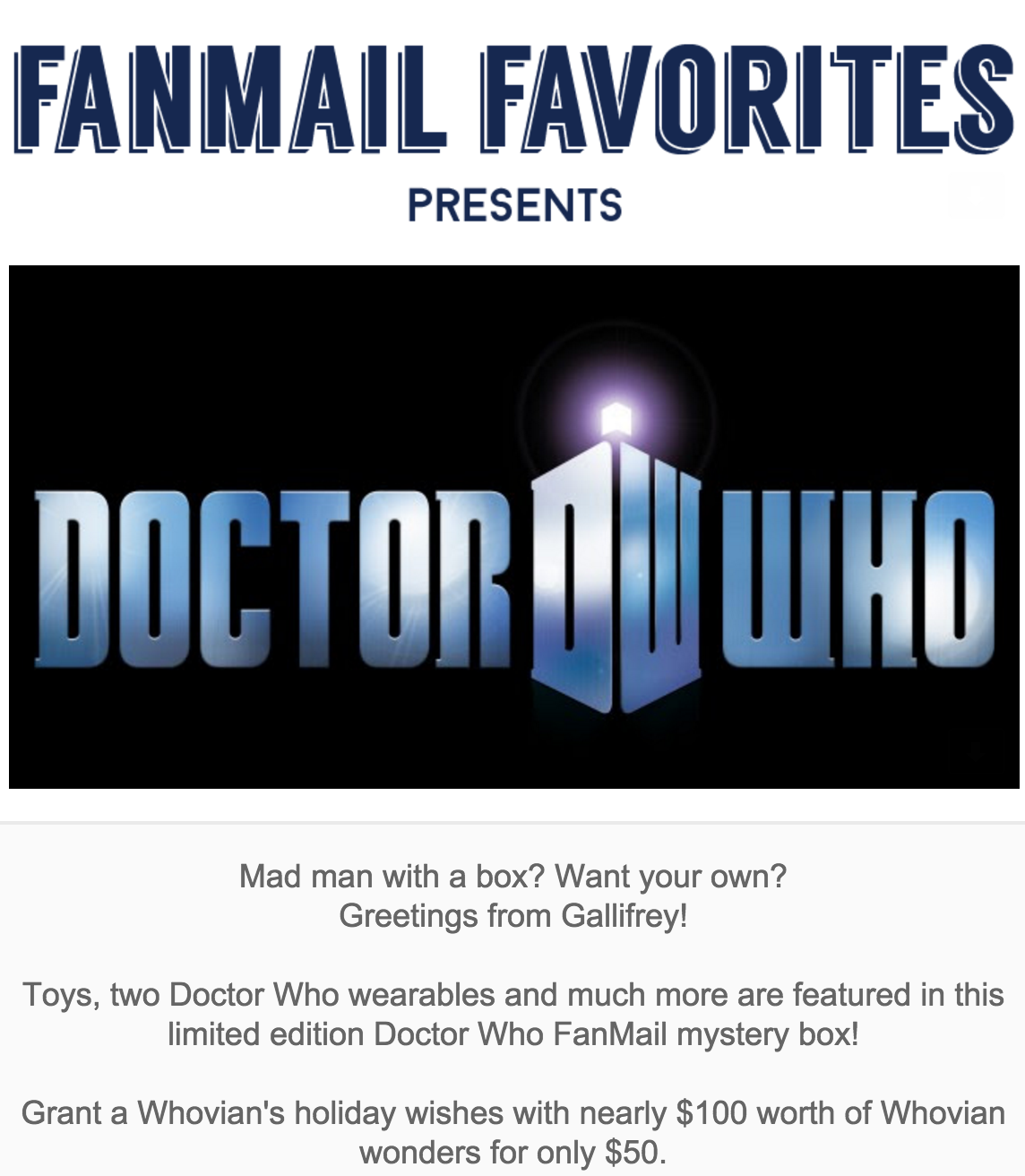 Doctor Who Limited Edition Box