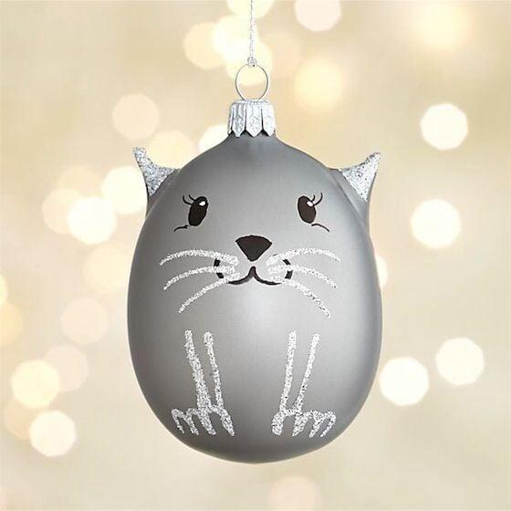 Silver Glass Cat Ornament