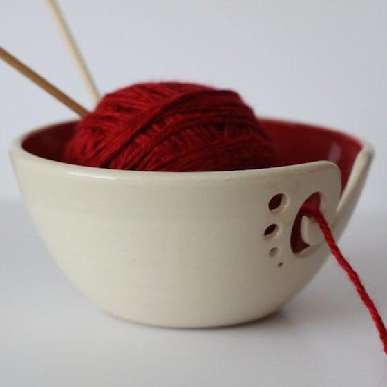 Red Yarn Bowl / Knitting Bowl / Crochet Bowl
