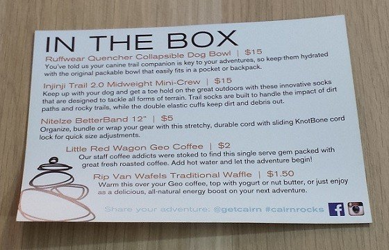 Cairn Subscription Box Review November 2015 - info