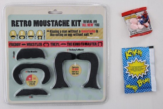 Powered Geek Box Subscription Box Review January 2016 - moustache set and candy