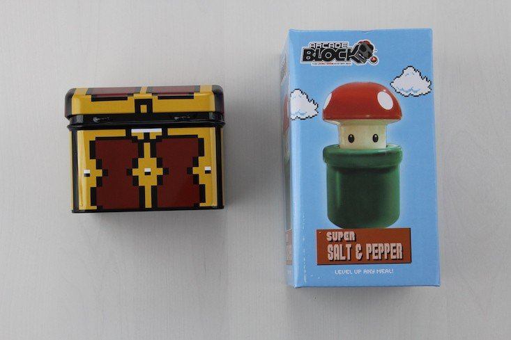 Arcade Block Subscription Box Review + Coupon February 2016 - chest and salt and pepper shakers