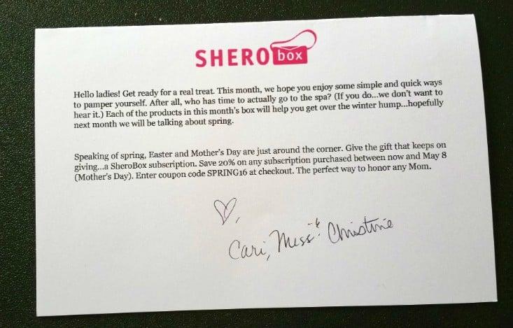 SHEROBOX MARCH 2016 - info 1
