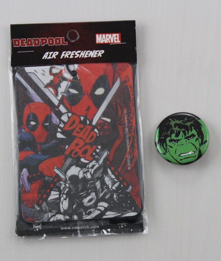 Powered Geek Box Subscription Box Review May 2016 - pin and air freshener