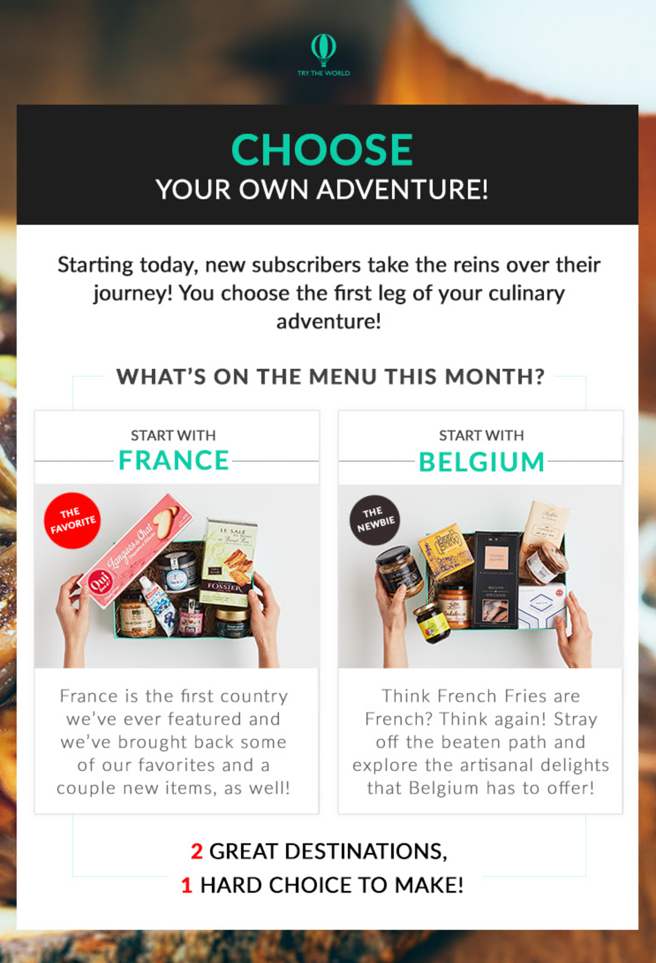 Try The World Deal – Choose Your First Box!
