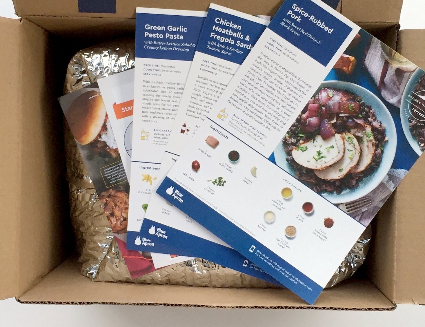 Blue apron march 2017 box inside