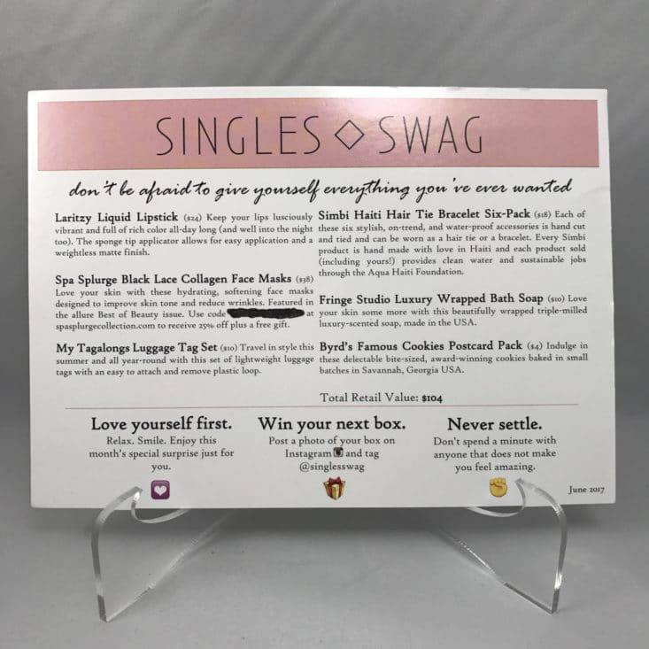 SinglesSwag Subscription Box Review Coupon June 2017