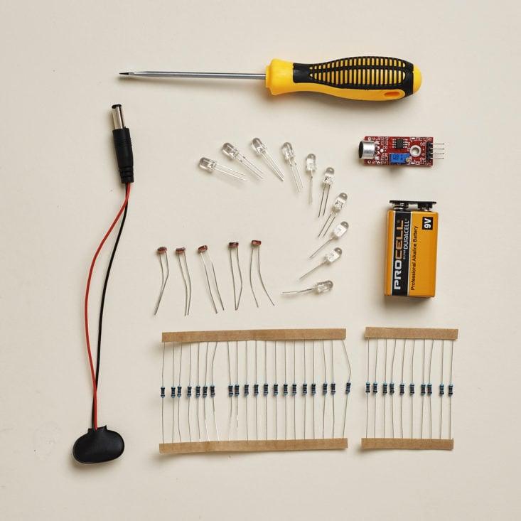 Make Crate Nightlight Kit July 2017 - Various supplies
