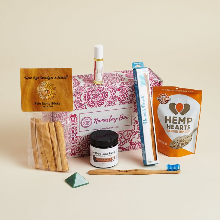 Namaslay Box, a lifestyle box filled with yoga-friendly snacks, beauty and wellness items