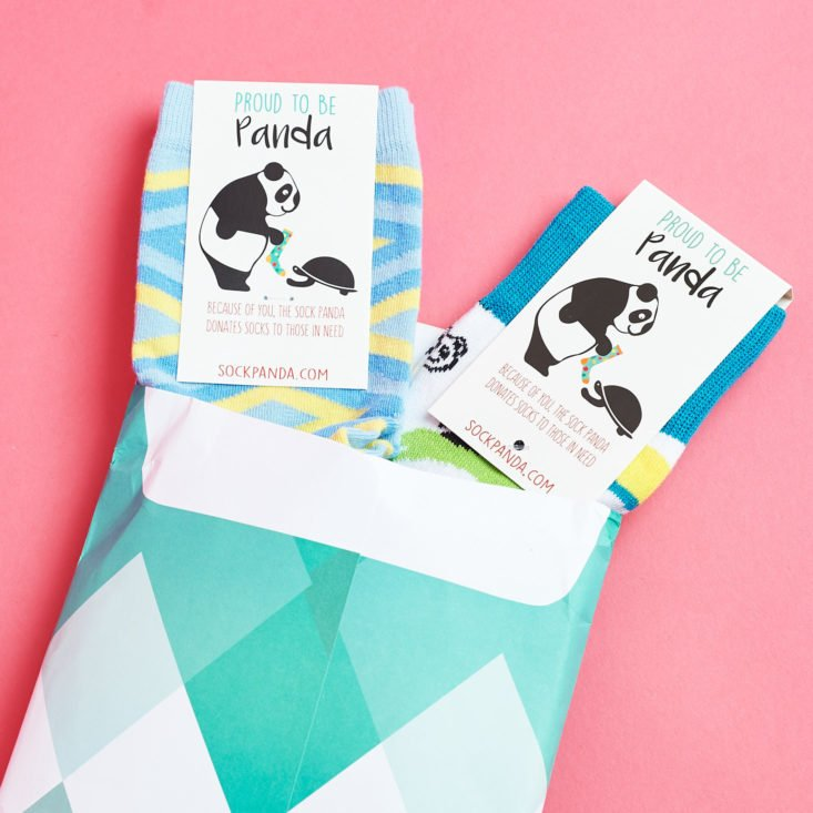 See the fun patterned socks in the September Sock Panda subscription box!