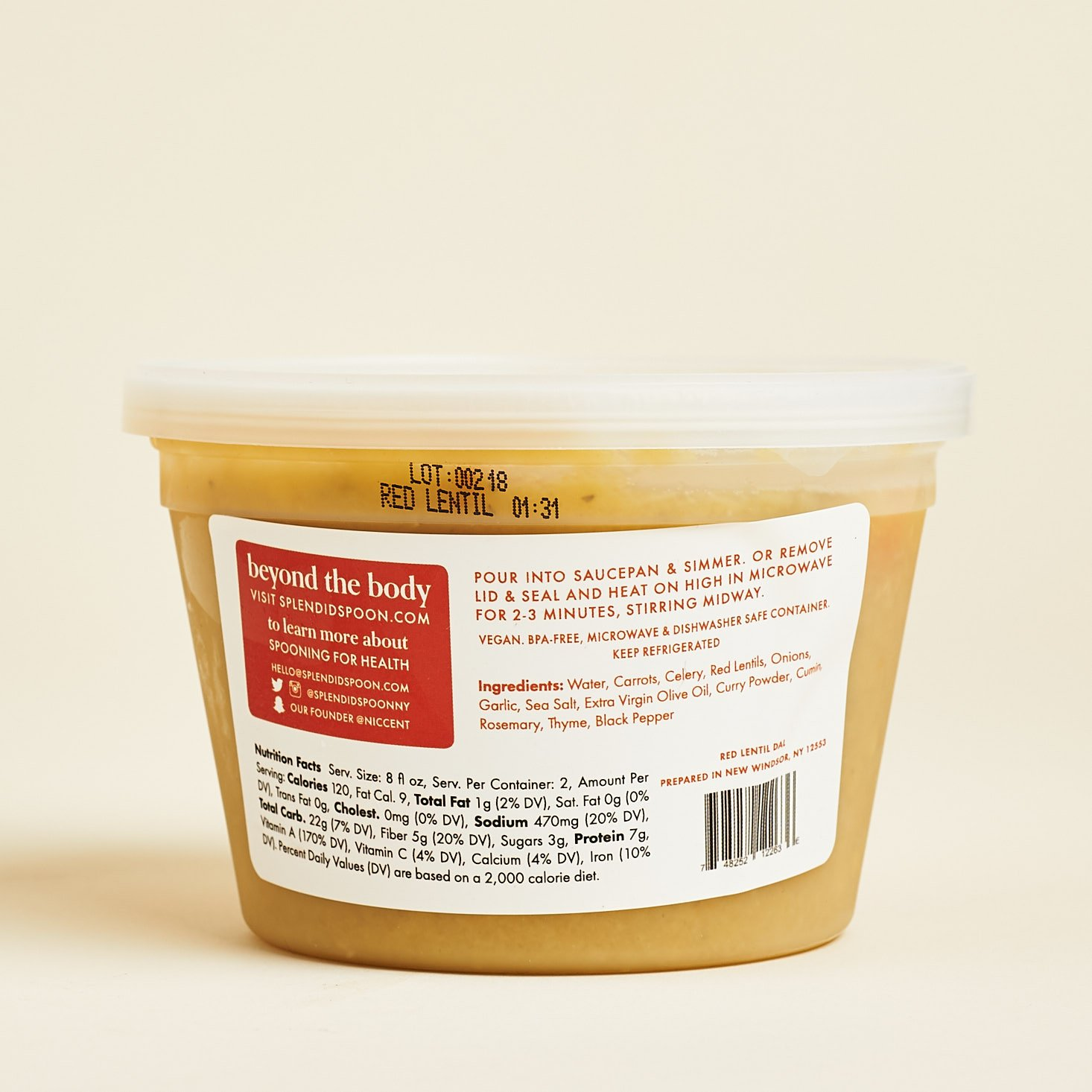 red lentil dal soup label