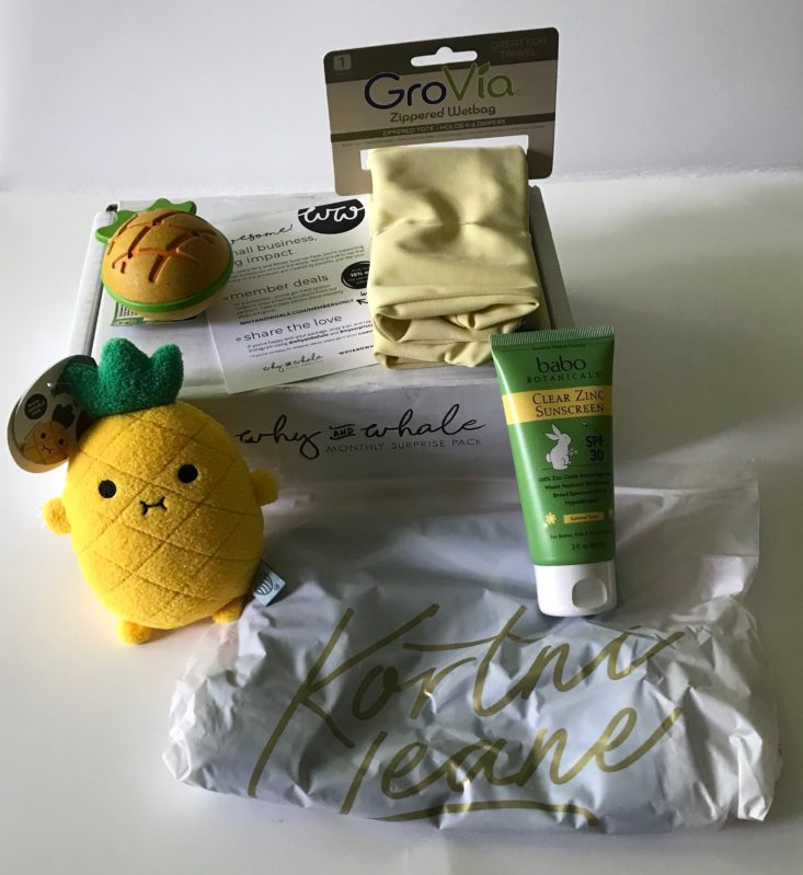 Baby toys and sunscreen from Why and Whale subscription.