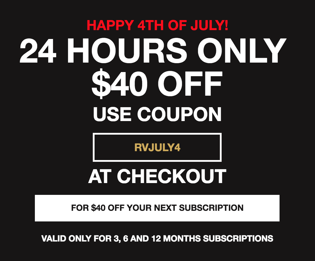 Extended! Today Only! Robb Vices 4th of July Deal – Save $40 on a 3-Month Subscription!