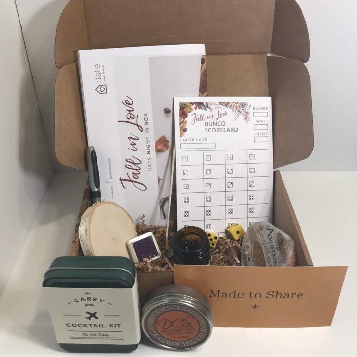 Date Night In Box October 2018 - Box Open with Products Front