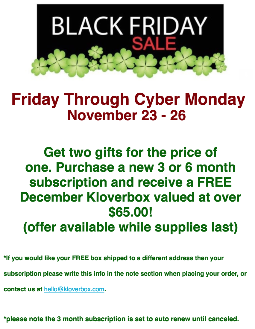 Kloverbox Black Friday Deal – FREE Box With Pre-Paid Subscription!