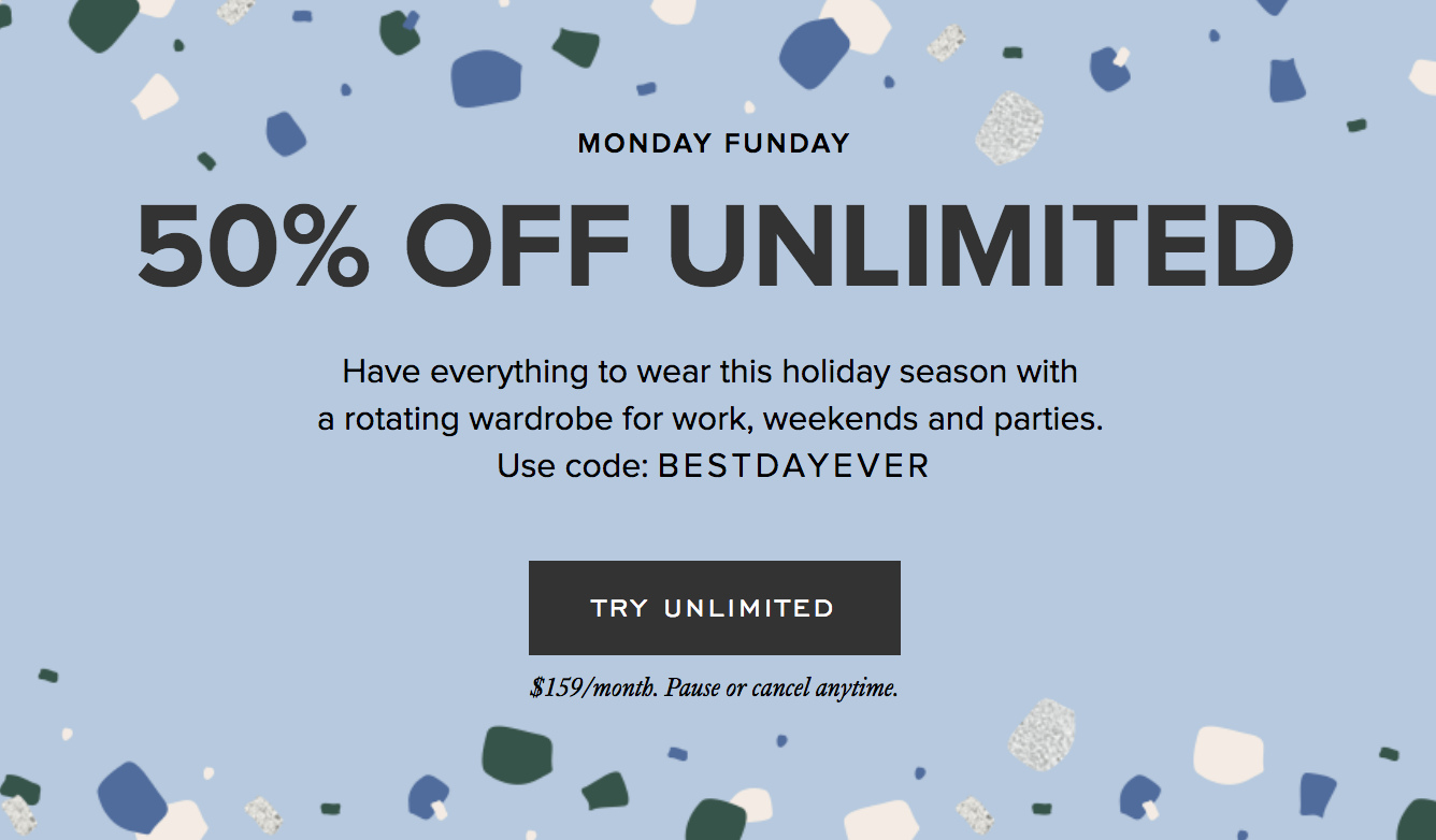 Rent the Runway Cyber Monday Deal – 50% Off Unlimited!