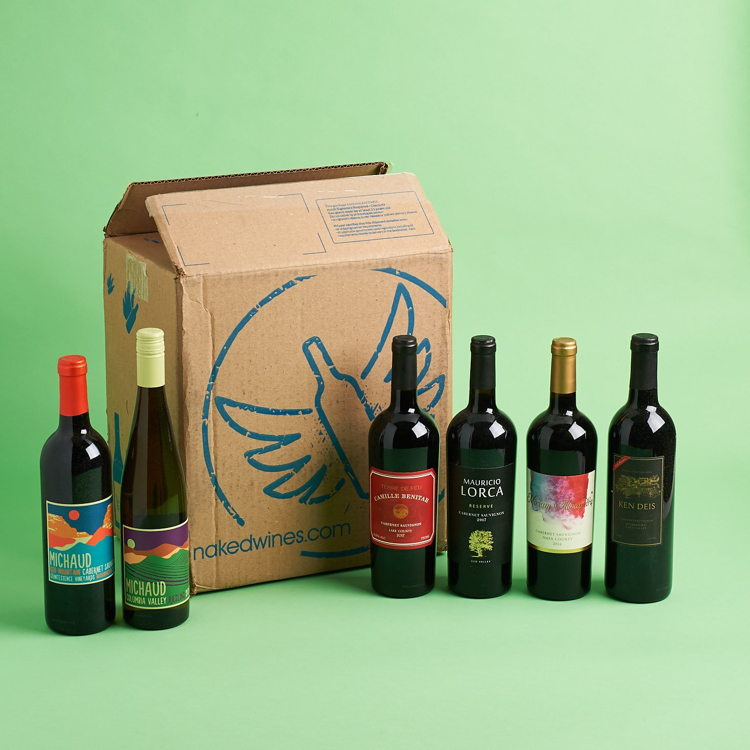Naked Wines March 2019 all bottles inside with box