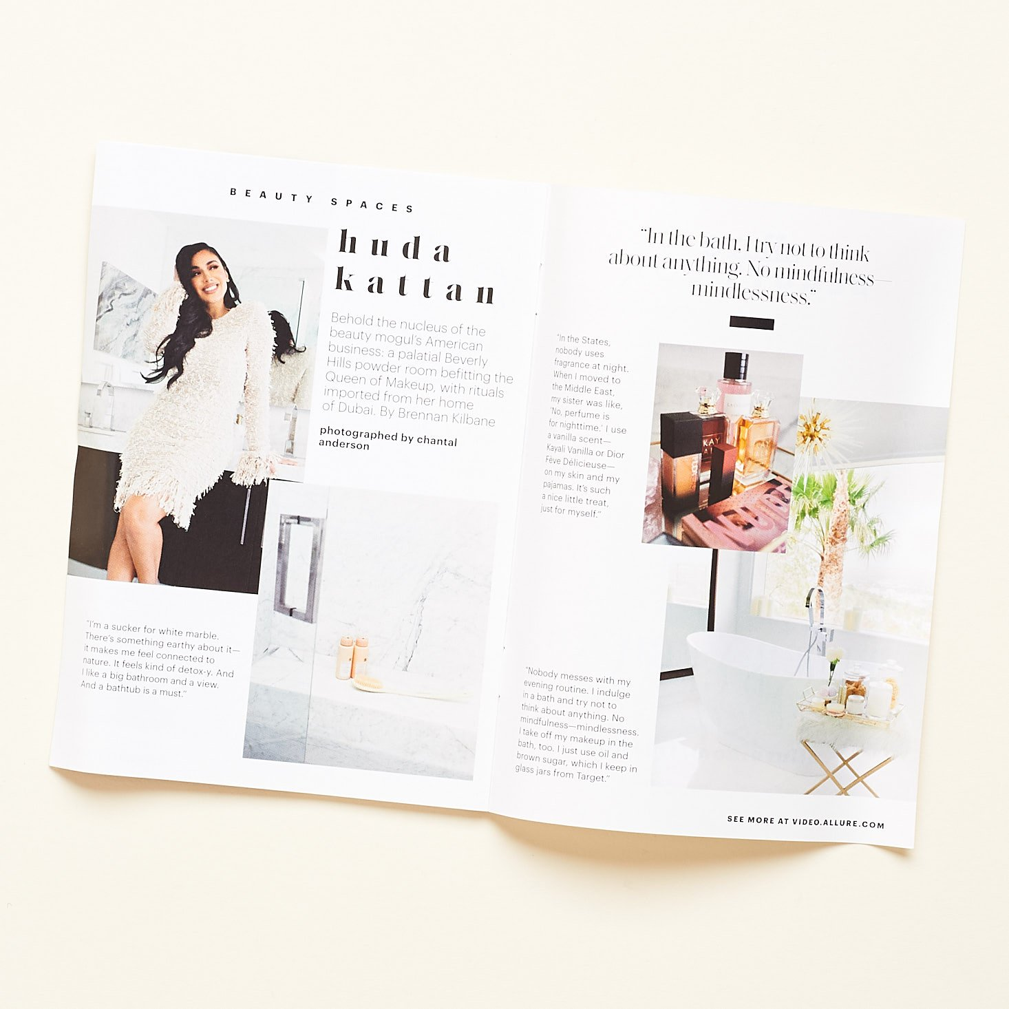 allure booklet pages featuring huda kattan