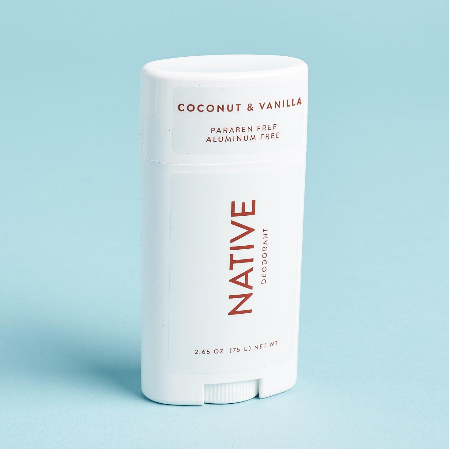 Native Deodorant coconut vanilla bar review 2019