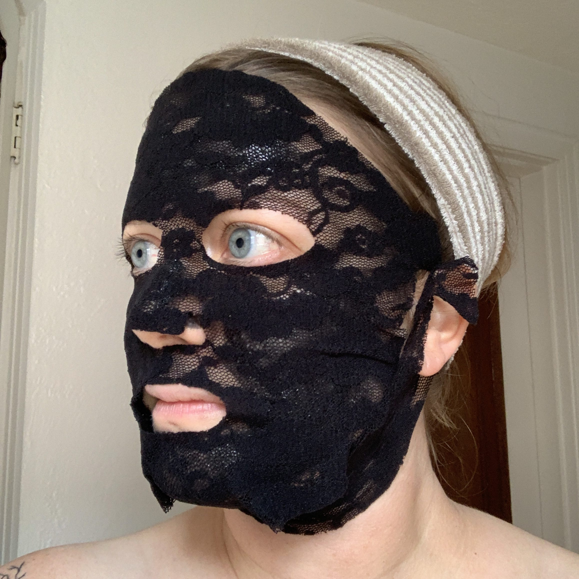 side view of Marne with lace mask on