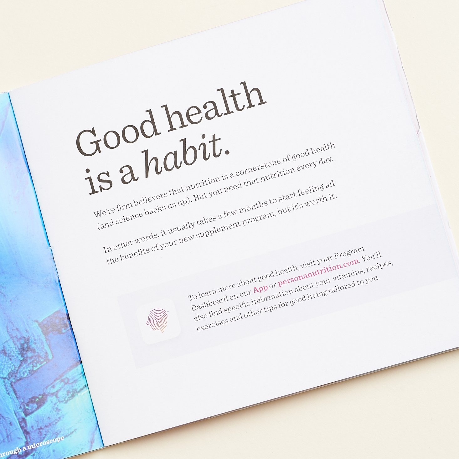 """""""good health is a habit"""" Persona booklet page"""