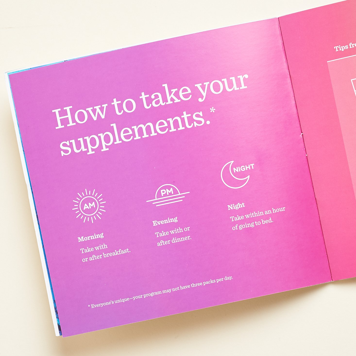 """how to take your supplements"" Persona booklet page"