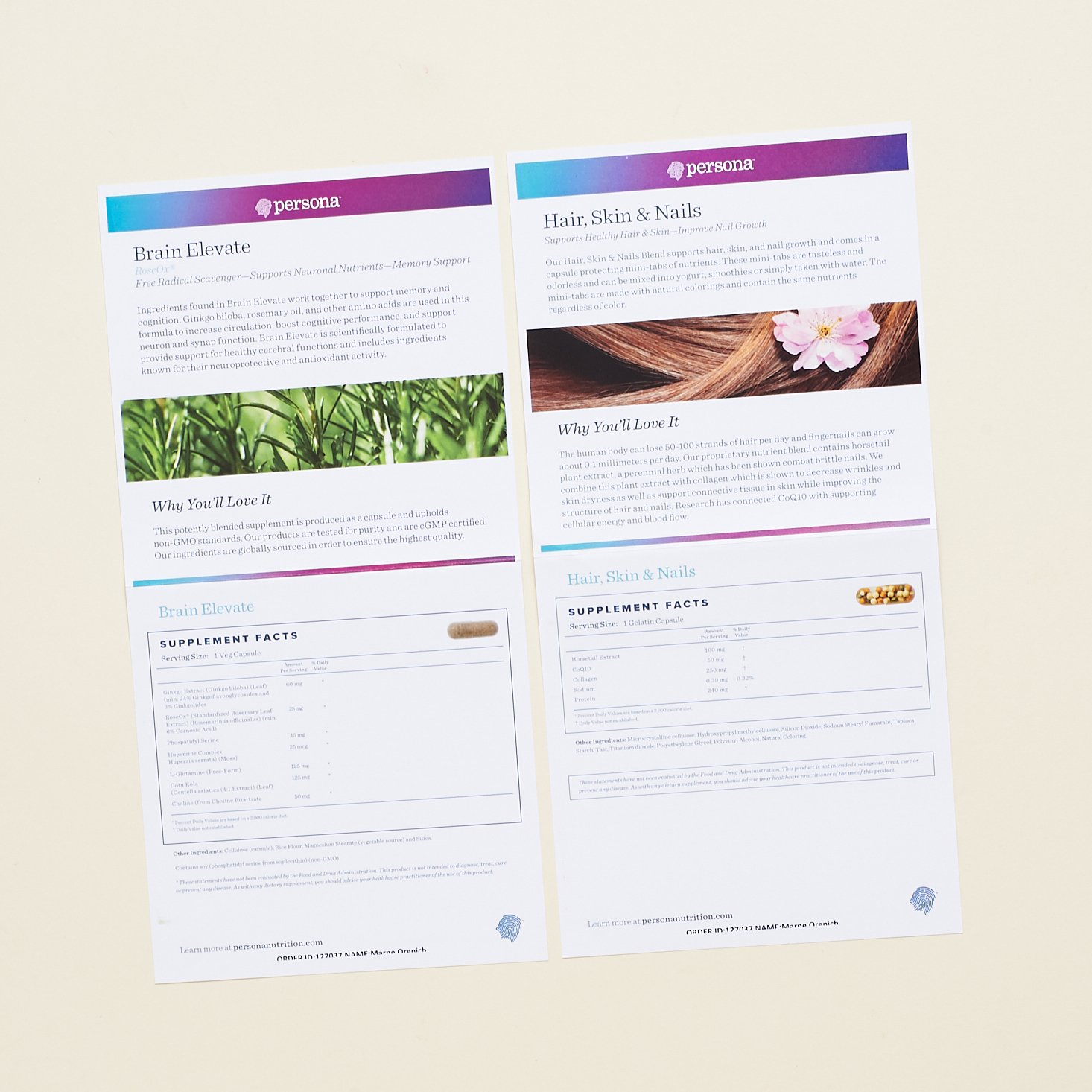 Brain Elevate and Hair, Skin, Nails Info sheets