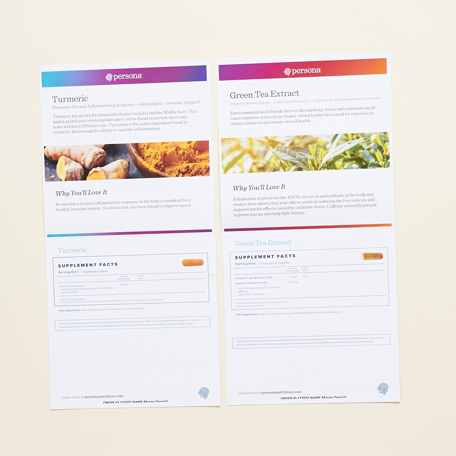 Turmeric and Green Tea Extract Info Sheets