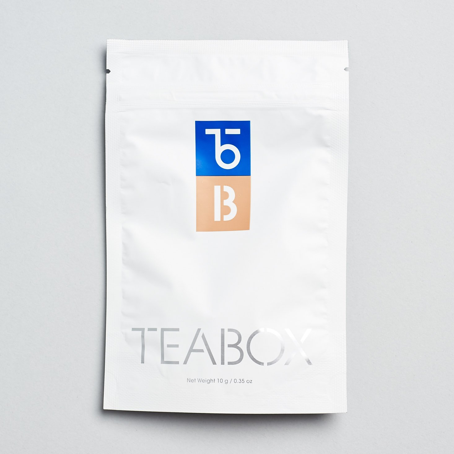 back of tea bag with teabox logo